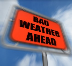 Bad Weather Ahead Sign Displaying Dangerous Prediction